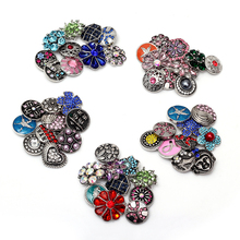 Hot 50pcs/lot High quality Mix styles 18mm Metal Snap Button Charm Rhinestone Ginger Snaps button Making Bracelets Charm Jewelry