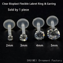 SHUIMEI 1PC Fashion Round Zircon CZ 316l Steel&PTFE Labret Lip Bar Ring Piercing Ear Cartilage Tragus Sexy Girl Jewelry 16g