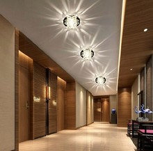Colorpai 3W crystal light ceiling lamp bedroom restaurant aisle balcony modern home lighting AC85-265V white/warm white