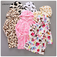 LAKAKSTY 1-6T Children's Nightgowns Kids Boys Girls Bathrobe Autumn Winter Hooded Flannel Pajamas Leopard Print Sleepwear Robe(China)