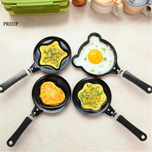 PREUP Practical Mini Egg Frying Pancakes Kitchen Pan with Stick Housewares Pot DIY 5 Types Shapes Healthy Nonstick Cooking Tools