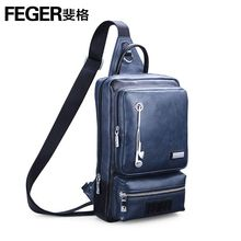 FEGER Waterproof PU Leather  Ipad Sling Messenger Bag  Bag with Holes for Earphones