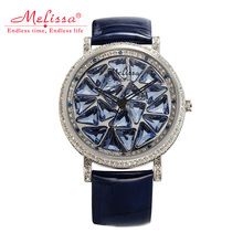 Luxury Rotating Crystal Melissa Lady Women's Watch Rhinestone Fashion Hours Leather Bracelet Clock Girl Birthday Gift Box