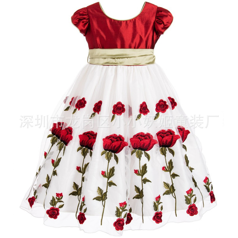 2017 Red Rose Dress Kid Girls Short Sleeve Print Baby Girl Clothes Children Outfits Toddler Clothing Princess Child Dresses<br><br>Aliexpress