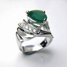 Tbj ,3ct green agate Trl10mm on solid gemstone  ring in 925 sterling silver gemstone jewelry,fashion stylish designs ring