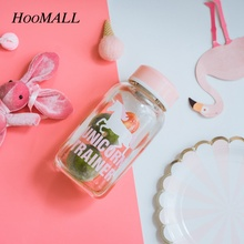 Hoomall 2017 New 600ml Cartoon Unicorn Pattern Glass Water Bottle with Cloth Protection Cover Include Tea Infuser Gifts for Girl(China)