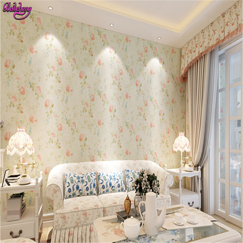 beibehang papel de parede Pastoral wall paper wallpaper bedroom living room wall warm wallpaper American fresh flowers tapety <br>