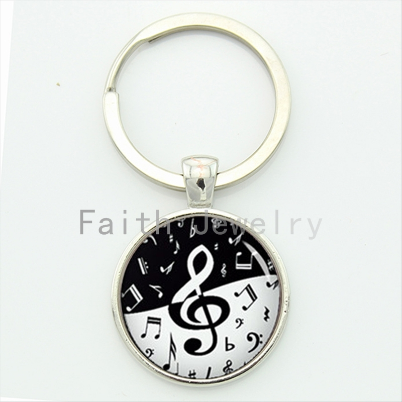 Stylish treble clef wave key chain yin yang black white design musical notes keychain musician music fans jewelry KC610(China (Mainland))