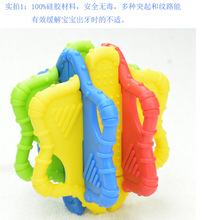 9cm Sozzy silicone rubber Babys Toys teethers ball dental teeth Block early teething stapler interesting children quality report(China)