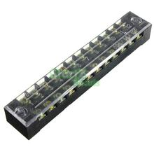 New 600V 15A Dual Row 12 Positions Screw Terminal Safety Covered Electric Barrier Strip Block