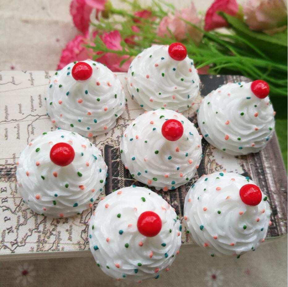 10pcs 26*20mm Kawaii Flat Back DIY Miniature Artificial Fake Food Cake Resin Cabochon Decorative Craft. The birthday Cake(China)