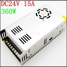 High quality AC 110V Or 220V to DC 360W 24V 15A Switching power supply for 24 volt led strip light driver transformer adapter(China)