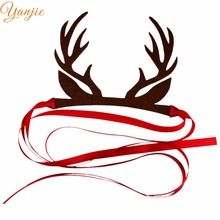 Birthday Chic Christmas Festival Kids Girl Solid Brown Deer Antler Tied Ribbon Headband 2018 New DIY Hair Accessories Headwrap(China)