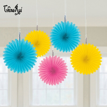 20cm=8 inch Tissue Paper fans Flowers balls lanterns Party Decor Craft For Wedding Decoration multi color option fan(China)