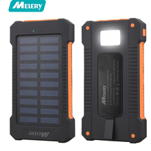 Melery Solar Power Bank Waterproof/Shockproof/Dustproof 10000mAh Charger Dual USB with Hook LED Light SOS for Mobile Phone(China)