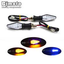 2 PCS Universal Motorcycle LED Turn Signal Light Waterproof Amber And Blue Color 12 Led SMD Indicator Blinker Flash Bike Lamp(China)