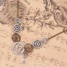 DoreenBeads New Fashion Steampunk Statement Necklace Link Cable Chain Antique Bronze Gear Key Pendants 45.5cm long, 1 Piece(China)