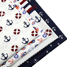 David accessories 50*147CM summer Anchor ship boat 100% fabric for Tissue Kids Bedding home textile Sewing Tilda Doll,c884(China)