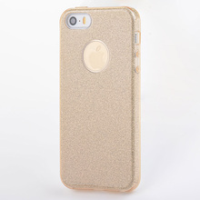 Luxury Glitter bling bling Case for iPhone 5s 5 SE TPU PC sticker 3 in 1 High Quality Anti-knock Shockproof cover(China)