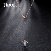UMODE Brand New Spider Shape Rose Gold Color Top CZ Pendants Necklaces For Women Jewelry Fashion Necklace Hot Sale Gift AUN0227