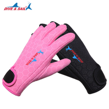 DIVE & SAIL 2 color neoprene diving gloves 1.5mm Comfortable anti-skid gloves anti scratch equipment Neoprene + nylon Material(China)
