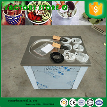Wholesale price thailand cold plate fry ice cream machine fried ice cream roll machine with 6 topping fruit tanks
