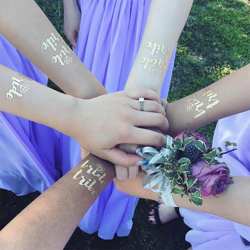 5Pcs/lot Flash Bride Tribe Temporary Tattoo Sticker Bachelor Party Bridesmaid Wedding Party Body Art Glitter Tattoo Decals Y2 19