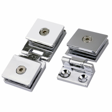 1Set Zinc alloy Glass Door Hinge Single/double Hinges Installation Hole Cabinet Door Glass Hinge Glass Clip for 5-8mm thickn(China)