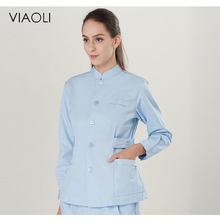 Viaoli Blue Medical Gowns Front Desk Nurse Uniforme Clinico Medical Uniform Uniform Work Dress Long-sleeve Hospital White Coat(China)