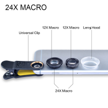 HD 2*12x 24X Macro Lens Universal Clip Camera Lens Mobile Phone lenses Coating Glass +Lens Hood For iPhone for Samsung