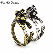 Vintage Scottish Fold Cat Anel Black Ring Boho Animal Aneis Wedding Rings For Women Men Jewelry Best Friend Gift Kpop One Piece