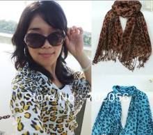 COTTON leopard print shawl 170*60m mixed color 18pcs/lot #3062
