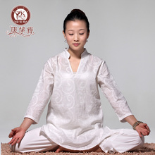 New Autumn Winter White Cotton Embroidery Three Quarter Sleeve Yoga Suit Upasaka Meditation Yoga Clothing Y305
