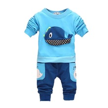 New Baby Tops+Long Pants 2pcs Suit Boys Clothing Whale Pattern Children Sets Size 1-4 years