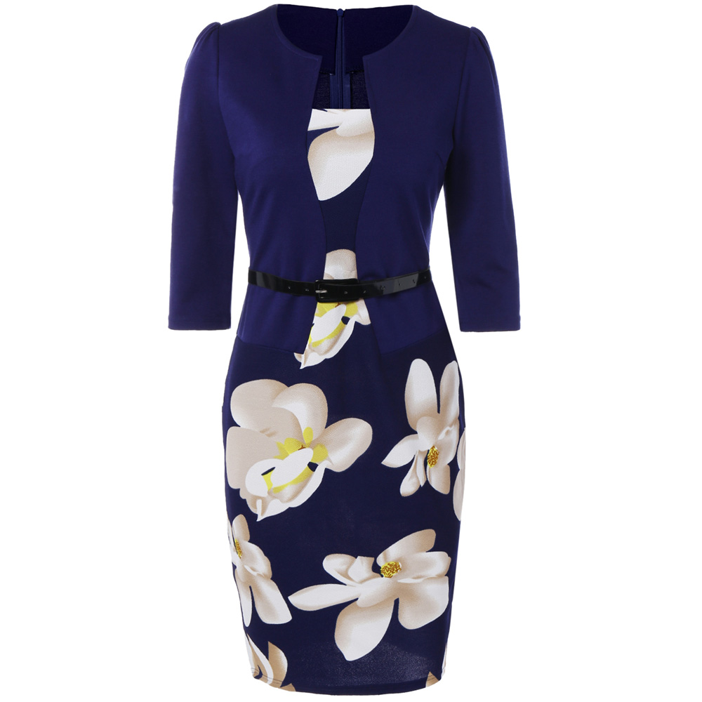 VESTLINDA Pencil Office Dress 5 Colors Plus Size Jacket Look Floral Print Women Vestidos Mujer Jurken Robe Slim Bodycon Dresses 8