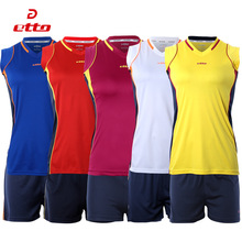Etto 2016 17 New Professional Women Volleyball Jerseys Uniforms Sportwear Suit Female Volleyball Sleeveless Training Kits HXB008