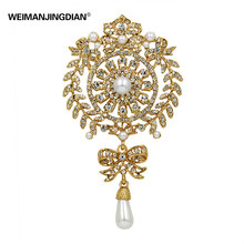 New Fashion Large Size Crystal Diamante and Imitation Pearl Drop Scroll Brooches for Women or Wedding(China)