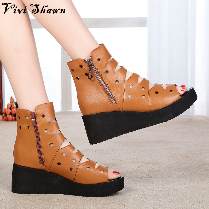 2017 High Quality Genuine Leather Women Sandals Wedge Heel Female Summer Shoes Hot Sale<br><br>Aliexpress