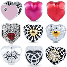 AZIZ BEKKAOUI 2017 New Heart Beads Fit for Pandora Cubic Zircon Crystal Bead Cute Charms Jewerly Making Big Hole DIY Accessories