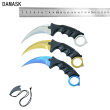 Damask Brand Karambit Knife Stainless Steel Blade Plastic Handle CS GO Counter Strike Machetes Knife Outdoor Knife 3 Piece Set