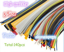 High quality 140pcs 7color Assortment 2:1 Heat Shrink Tube Tubing Sleeving Wrap Wire Cable Kit