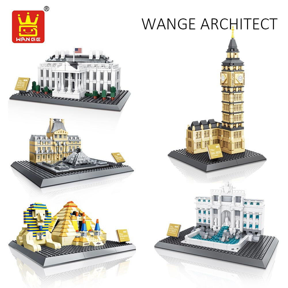 WANGE Architecture Building Blocks Compatible with Assembly Toy Kids White House Tower Louver Pyramid Model Educational Bricks<br>