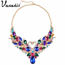 Luxury 2016 New Collier Femme Double Swan Necklace Statement Chain Necklace for Women Party Wedding Fashion Jewelry