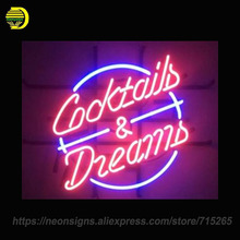 Neon Sign for cOCKTAILS DREAMS Handcrafted Decorate Neon Signs Lights for Store Display Neon Bulbs Sign Signboards CUSTOM logo