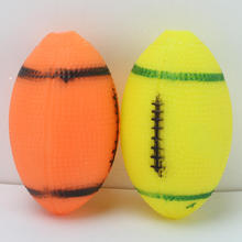 2pcs Pet Cat Puppy Dog Soft Nontoxic Rubber Rugby Football Small Flexible Bite Resistant Ball Fetch Play Chew Squeaky Sound Toys(China)
