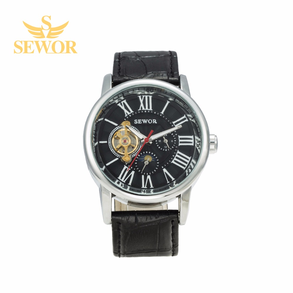 2017 SEWOR Top Brand Luxury 12/24 Dual Display Mens Automatic MOON PHASE Mechanical Watch Blach C315<br><br>Aliexpress