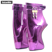 "Buy jialuowei Women 7""/18CM Extreme High Heels Heelless Wedge Ballet Ankle Boots crystal Sexy Fetish Padlocks Exotic Party Boots"