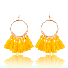Buy 2017 Fashion Bohemian Ethnic Fringed Tassel Earrings Women Golden Round Circle Ring Dangle Hanging Drop Earrings Jewelry for $1.09 in AliExpress store
