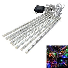 Waterproof LED Meteor Shower Rain Lights 30cm 8 Tubes 100-240V Icicle Snow Raindrop Outdoor Light  with EU/US Power Adapter