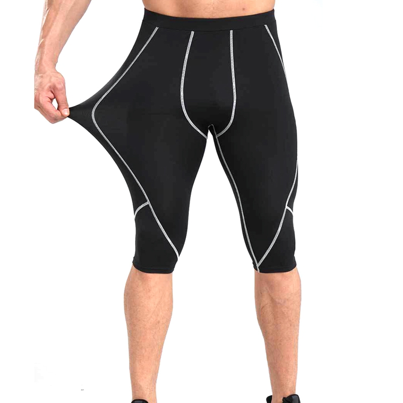 Men Elastic Sports Gym Compression Wear Under Base Shorts Pants Athletic Tights